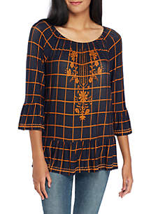 Printed Plaid Knit Blouse with Embroidery