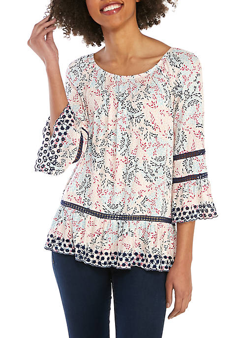 Fever 3/4 Sleeve Printed Shirt with Eyelet Trim