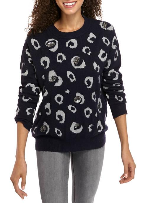 Fever Womens Cheetah Sequin Sweater