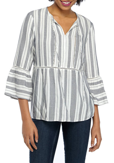 Fever Womens Bell Sleeve Stripe Peasant Top