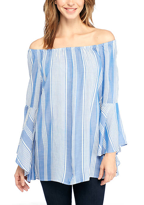 Wholesale Fever Ruffle Sleeve Off the Shoulder Blouse hot sale