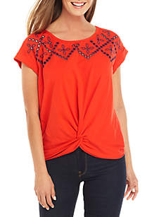 Fever Short Sleeve Embroidered Tie Waist Tee