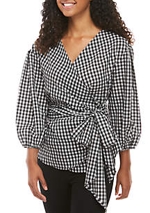Fever Wrap Front Gingham Woven Top