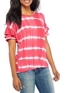 Short Sleeve Tie-Dye Knit Top