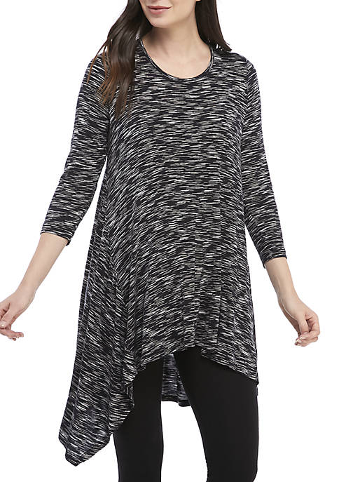 Fever 3/4 Sleeve Space Dye Knit Top