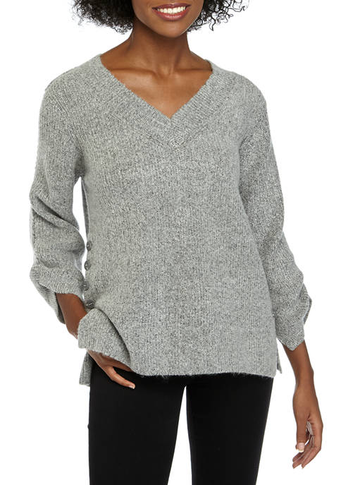 Fever Womens Button Side Tunic Sweater