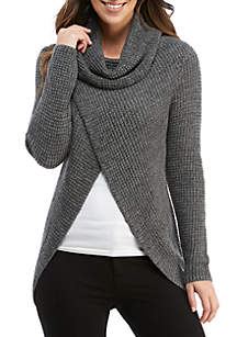 Cowl Neck Waffle Texture Sweater