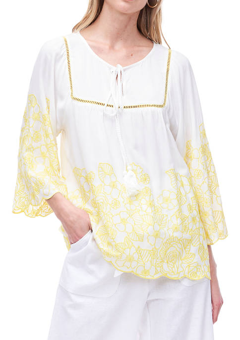 Fever Womens Embroidered Peasant Top