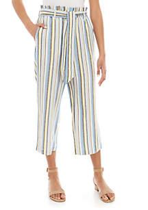 Fever Paper Bag Waist Stripe Pants