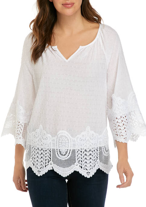 Fever Womens Stripe Swiss Dot Lace Blouse