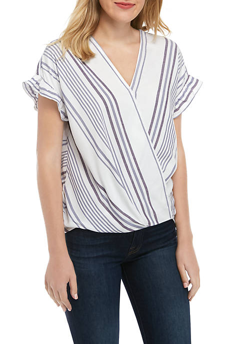 Fever Short Sleeve Wrap Front Stripe Woven Top