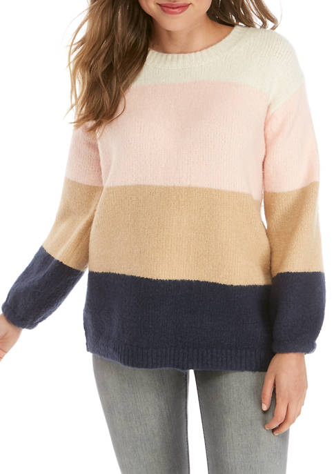 Fever Womens Oversized Color Block Sweater