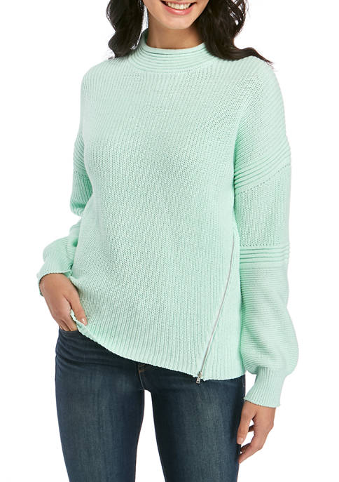 Fever Womens Ribbed Side Zip Sweater