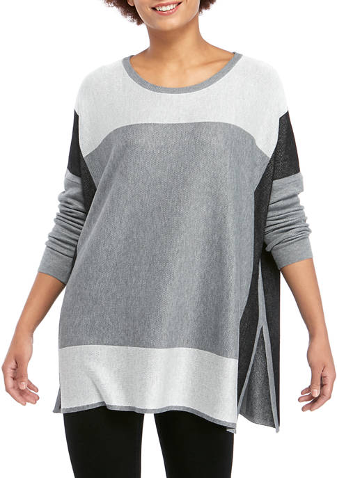 Fever Womens Color Block Poncho Sweater
