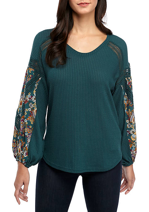 Fever Waffle Knit V-Neck Print Sleeve Top