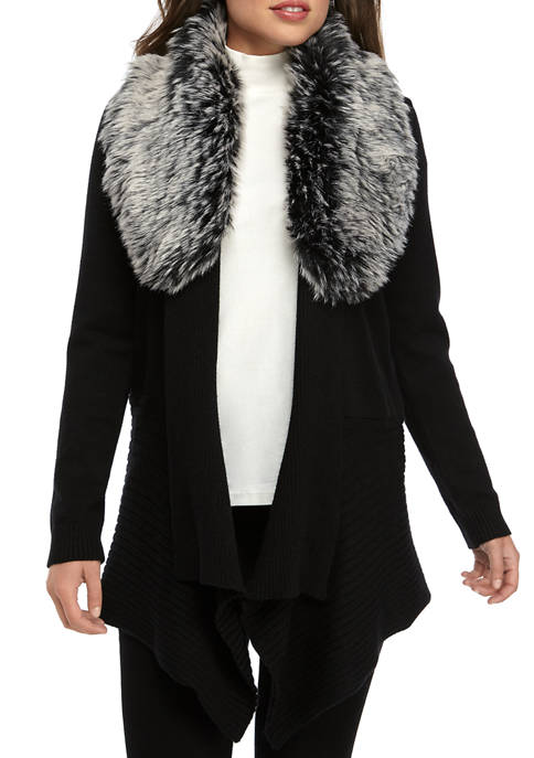 Fever Womens Detachable Fur Sweater
