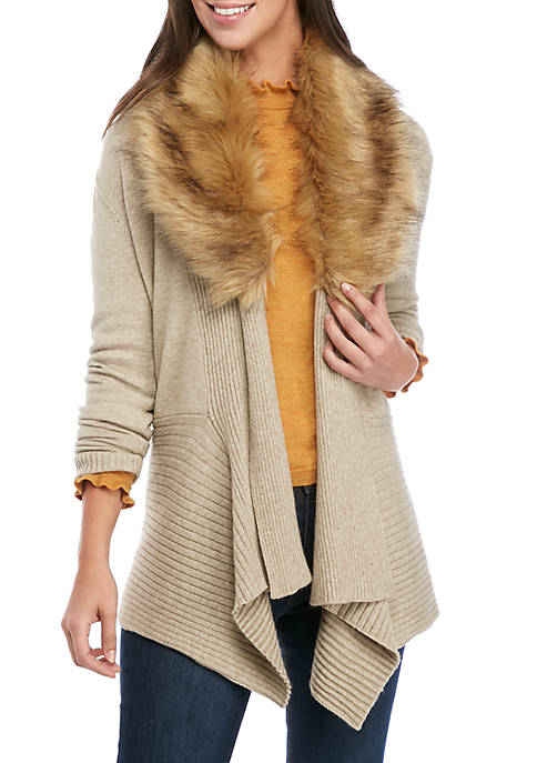 Fever Womens Detachable Fur Sweater