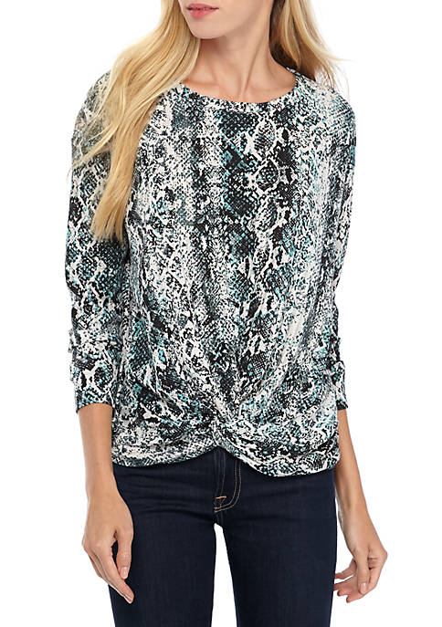 Fever Long Sleeve Knot Front Snake Print Top