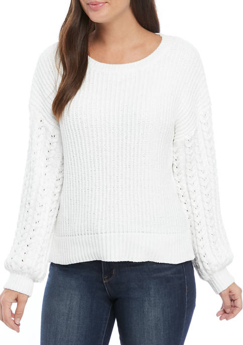 Fever Womens Chenille Cable Textured Sleeve Sweater