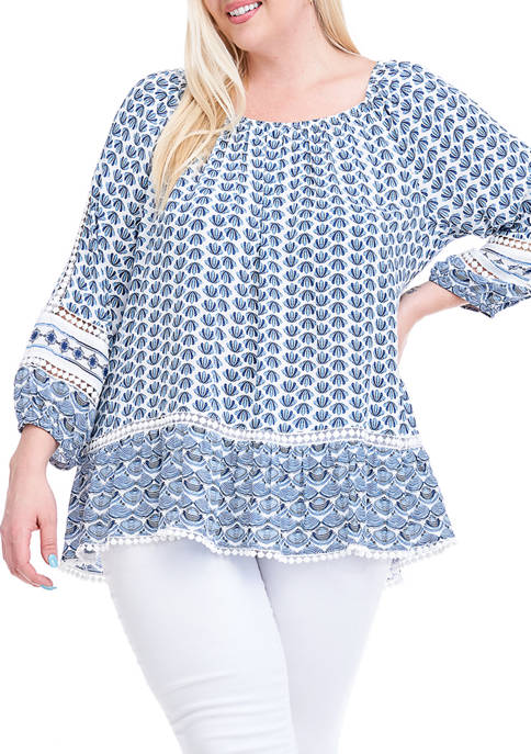 Fever Plus Size Convertible Off-the-Shoulder Printed Poet Sleeve