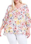 Plus Size Convertible Off-the-Shoulder Printed Ruffle Sleeve Boho Blouse
