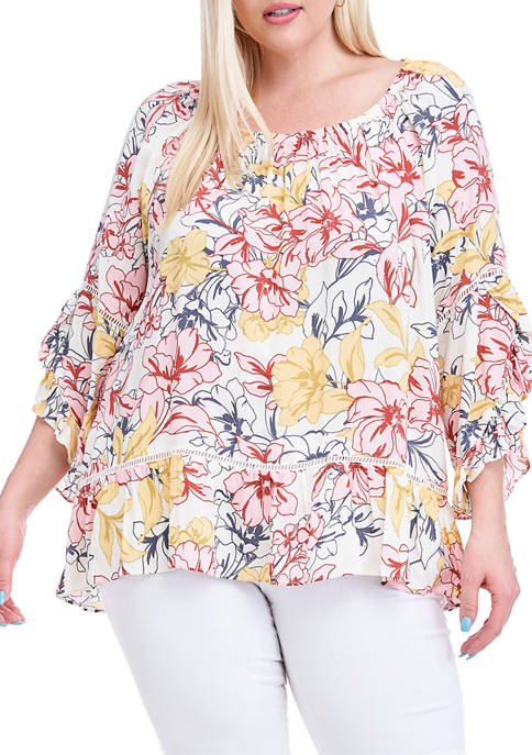Fever Plus Size Convertible Off-the-Shoulder Printed Ruffle