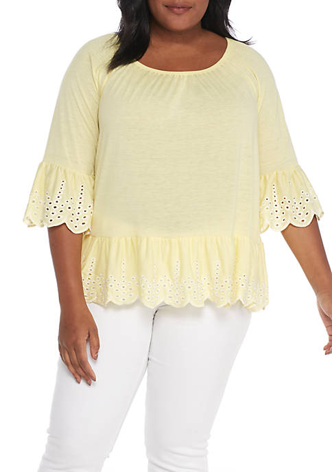 Fever Solid Embroidered Knit Top