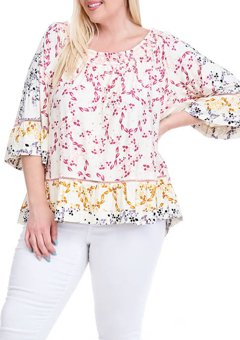 Fever Plus Size Smocked Neck Printed Knit Top