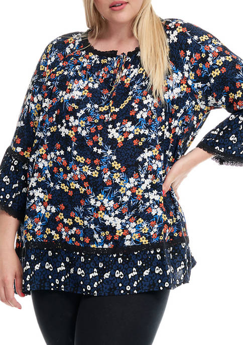 Fever Plus Size Printed Bell Sleeve Blouse