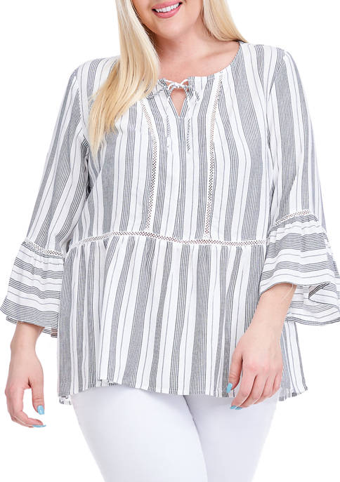 Fever Plus Size Yarn Dyed Stripe Bell Sleeve