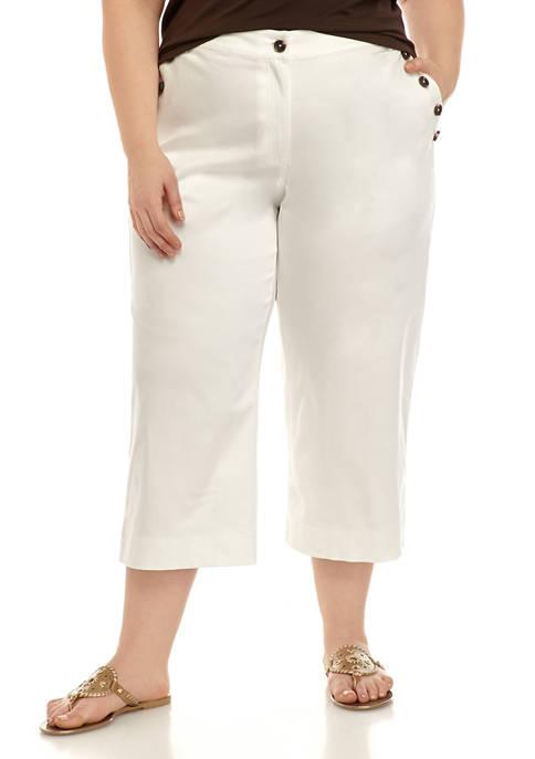 Plus Size Button Cropped Pants