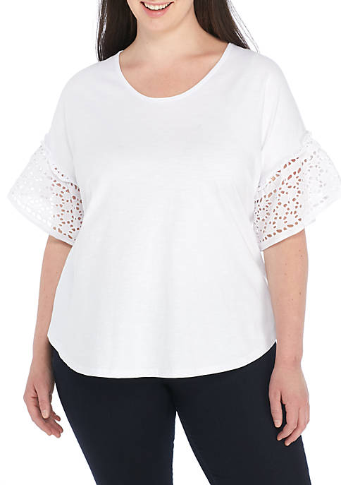 Fever Plus Size Printed Knit Top With Eyelet