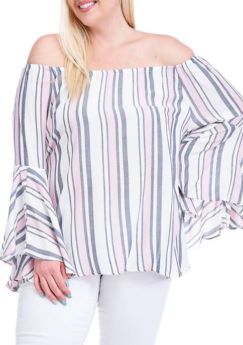 Fever Plus Size Yarn Dyed Stripe Symphony Sleeve