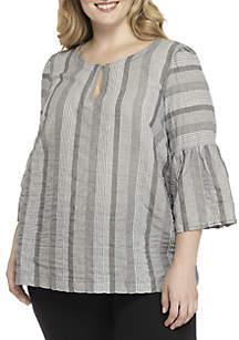 Plus Size Stripe Bell Sleeve Top
