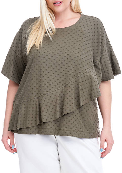 Fever Plus Size Dot Jacquard Top with Ruffle