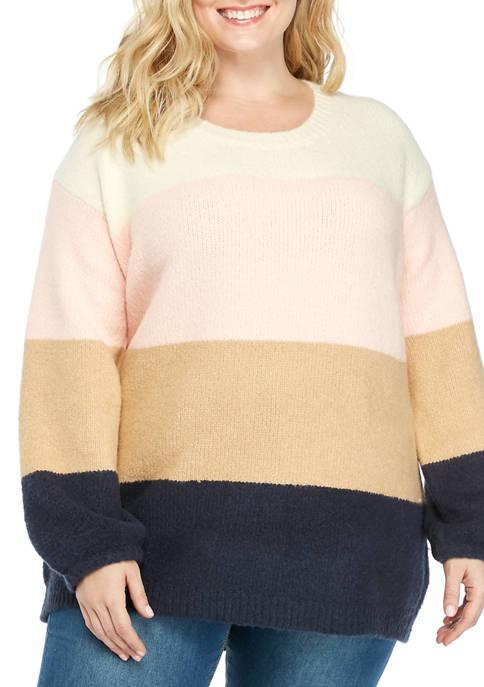 Fever Plus Size Oversize Color Block Sweater