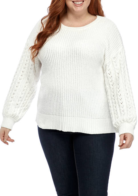 Fever Plus Size Chenille Cable Textured Sleeve Sweater