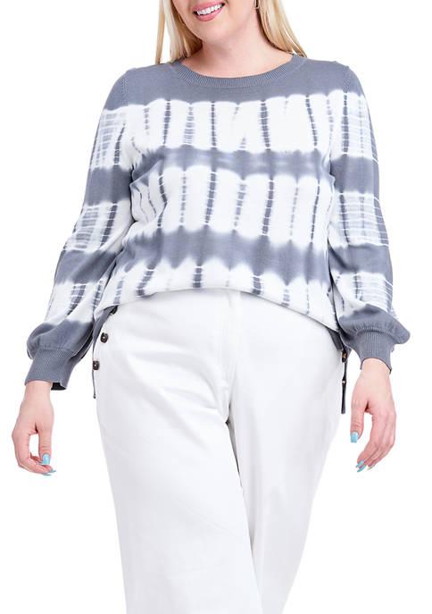 Fever Plus Size Tie Dye Balloon Sleeve Sweater