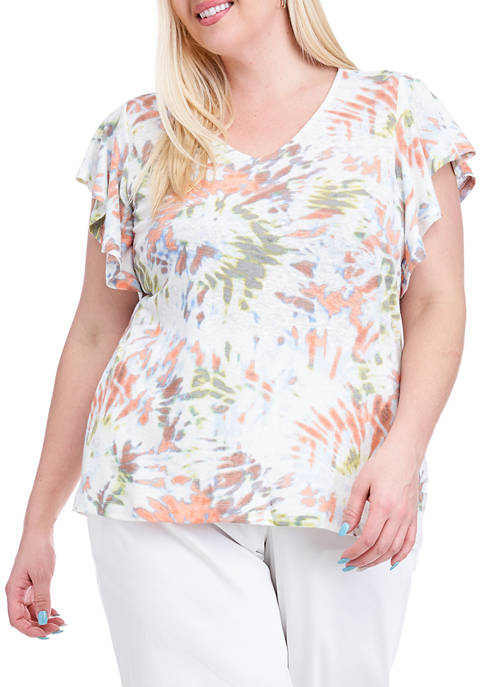 Fever Plus Size Tie Dye Printed Flutter Sleeve