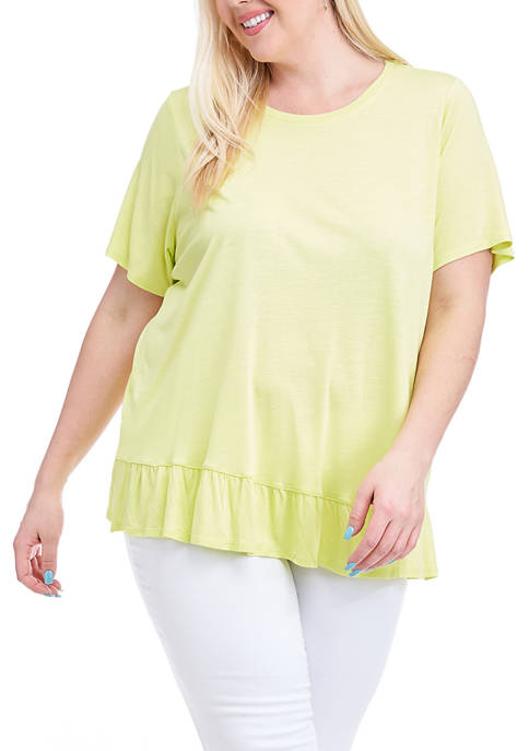 Fever Plus Size Ruffle Back Short Sleeve T-Shirt