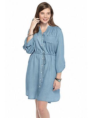 Free 2 Luv Plus Size Chambray Shirtdress | belk