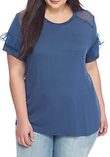 Plus Size Lace Sleeve Tie Front Tee