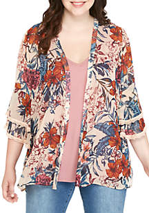 Plus Size 2Fer V-Neck Tier Sleeve Kimono Tank