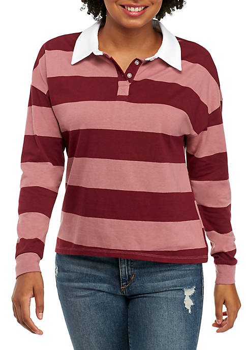 Belle du Jour Long Sleeve Stripe Collared Rugby