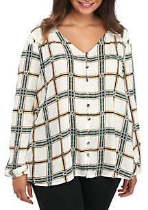 Long Sleeve Button Front Lattice Woven Blouse