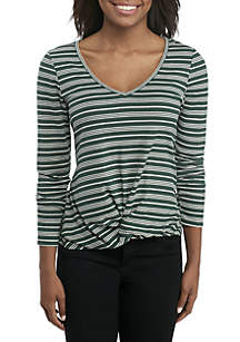 Long Sleeve Ribbed Twist Front Tee