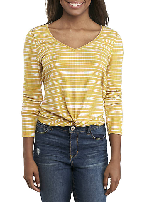 Belle du Jour Long Sleeve Ribbed Twist Front