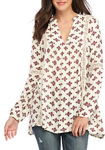 White Floral and Lace Long Sleeve Tunic