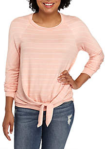 Long Sleeve French Terry Stripe Knot Front Tee