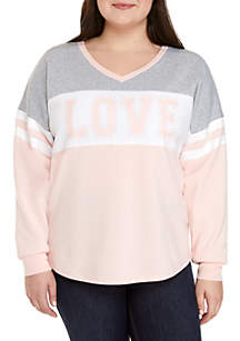 Plus Size V-Neck Love Sweater